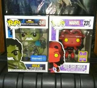 (ON HAND) Hulk Gladiator Thor Ragnarok & Red She-Hulk Marvel Funko Pop Bundle