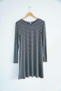 Old Navy Textured Knit Swing Strip Grey Dress