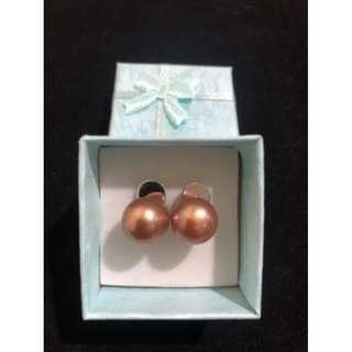 Freshwater Pearl Earrings Edison Bronze Color 11mm