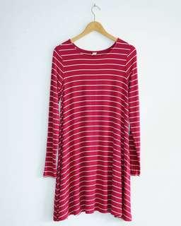 Old Navy Textured Knit Swing Strip Pink Dress