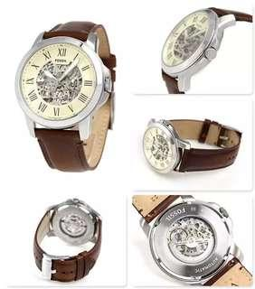 🚚 Fossil Men's Grant Automatic Skeleton Dial Brown Leather Watch