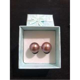 Freshwater Pearl Earrings Edison Violet color 10-11mm