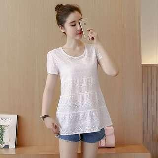 🚚 Pastel Coloured Sweet Floral Lace Korean Style Top