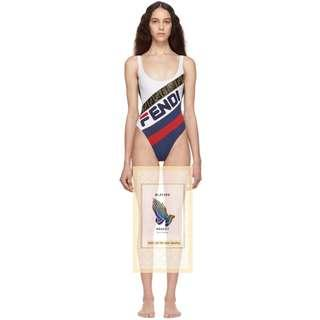 White & Navy 'Fendi Mania' One-Piece Swimsuit  FENDI