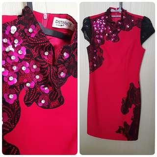 Distance Fuschia Party Dress / Dress pesta / midi dress