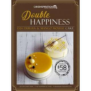 """Double happiness - d24 durian and mango mousse cakes ( avail 6"""" & 8 """" inch round special )"""