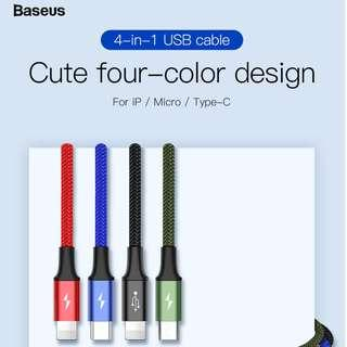 Baseus 4-in-1 Cable For lightning(2)+Type-C+Micro 3.5A 1.2M