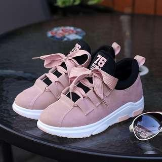 Women canvas shoes lace-up solid shallow fashion platform sneakers
