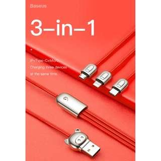 Baseus 3-in-1 Three Little Pigs USB For M+L+T 3.5A 1.2m