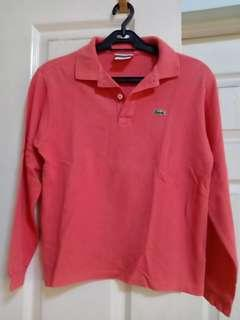Lacoste salmon colored long sleeved poloshirt