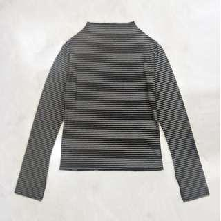 Long Sleeved Black and White Striped Turtleneck Top