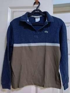 Lacoste blue and brown long sleeved poloshirt