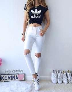 🚚 Adidas Ripped Crop Top
