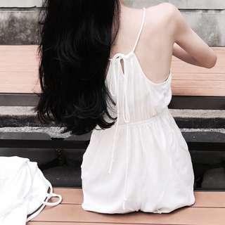 黑色 Aroom 訂製款 綁結連身短褲