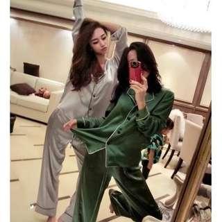 🚚 Pyjamas Women Silk Satin Pajamas Set Long Sleeve Sleepwear Suit