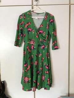 🚚 Green Floral Maternity Nursing Dress
