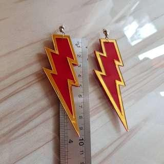 Red Gold Thunder Flash Lightning Earrings