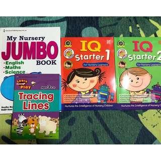 🚚 (All 4 books $5) Nursery Jumbo book + IQ starter + Lines Tracing book