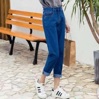 Dark Wash Blue Denim Jeans