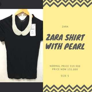 zara shirt with pearl