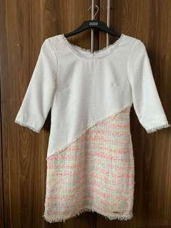 Dress tweed white pink