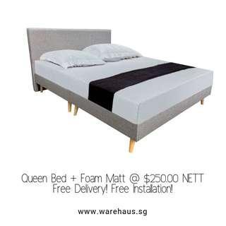 Queen Size Scandinavian Style Bedframe and Foam Mattress Set