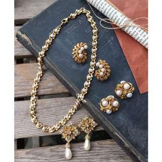 Skin&Moss Vintage復古二手垂掛式珍珠耳夾華麗珍珠仿製珍珠耳環復古耳環小香珍珠