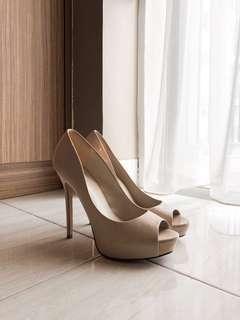 Aldo Beige Nude Patent Pump Heels
