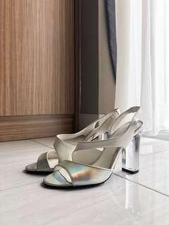 Charles & Keith White Hologram Clear Heels