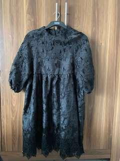 Dress Brokat Hitam Model Kurung