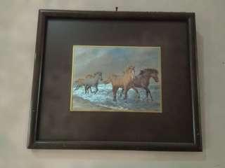 Lukisan kuda 3 dimensi ukuran 15 x 20 cm