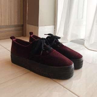 H&M Women Velvet Platform Sneakers