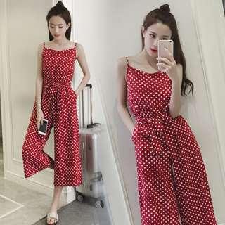 Red Coloured Polka Dots Waist Ribbon Bow Tie Pockets Designed Overall Jumpsuit