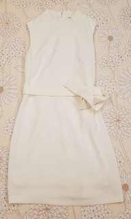 Basic White Dress with Adjustable Sash