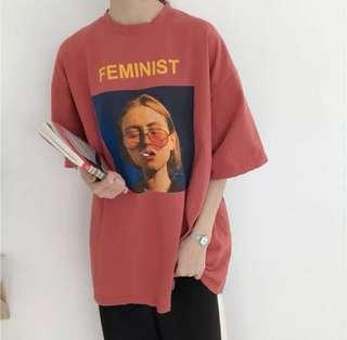 [instock] feminist brick red retro boxy shirt