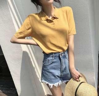 [instocks] bnwt vintage yellow polo top
