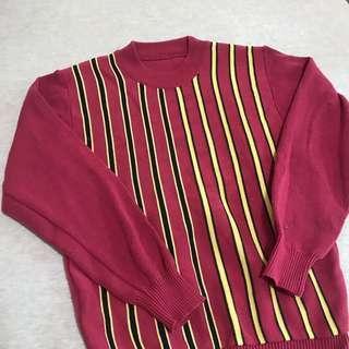 古著高領條紋毛衣 vintage