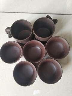 紫砂 茶杯7隻2大5細