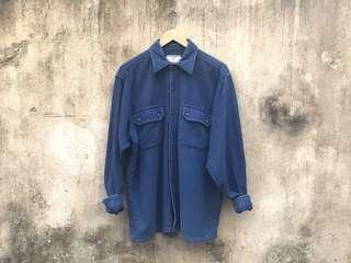 🚚 Vintage 古著二手 日本製 Levi's 藍色厚磅純棉襯衫