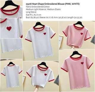 WST 25418 Heart Shape Embroidered Blouse