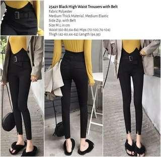 WST 25421 Black High Waist Trousers with Belt