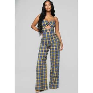 Fashion Nova's Don't Cross The Line Plaid Jumpsuit