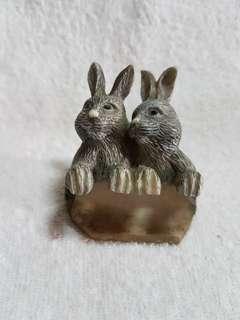 Vintage Two Rabbits Decor Figurine
