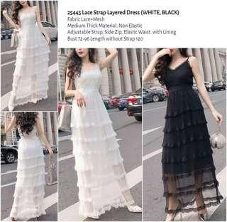 WST 25445 Lace Strap Layered Dress