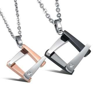 Couple Square rose gold and black necklaces