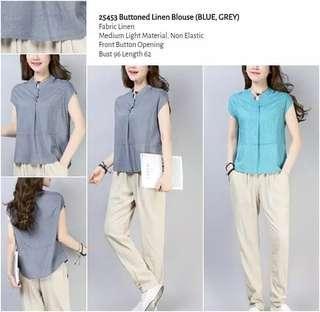 WST 25453 Buttoned Linen Blouse