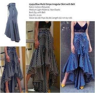 WST 25454 Blue Multi Stripe Irregular Skirt with Belt