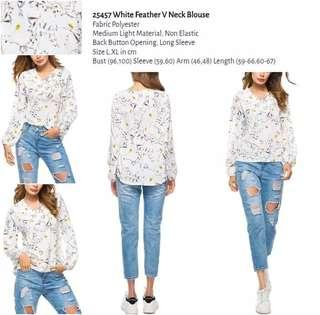 WST 25457 White Feather V Neck Blouse