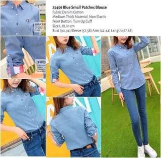 WST 25459 Blue Small Patches Blouse
