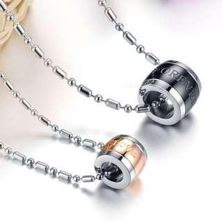 Couple Bucket Roller Rose Gold and black necklaces